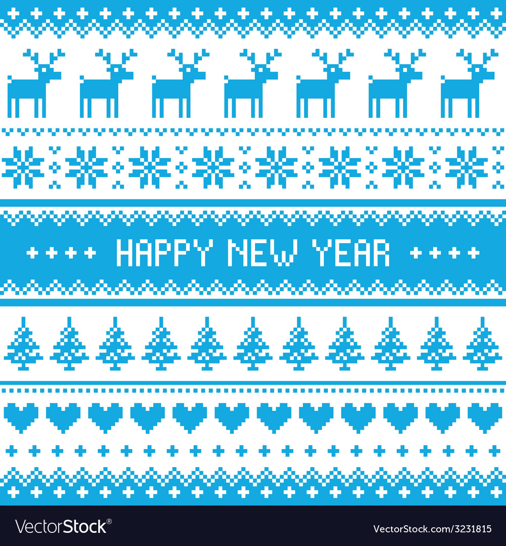 Happy new year - nordic winter blue pattern vector | Price: 1 Credit (USD $1)
