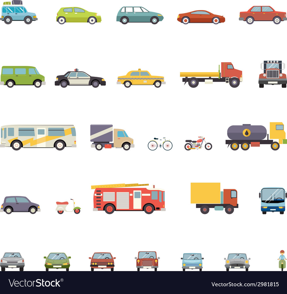 Modern flat design transport symbols stylish retro vector