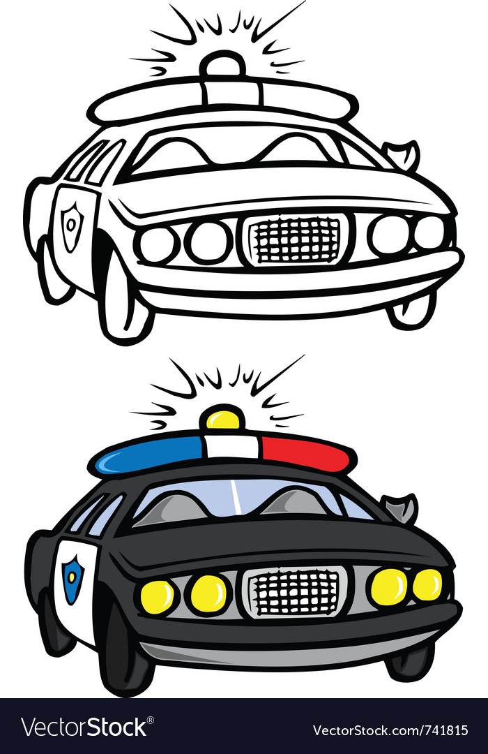 Police car coloring book vector | Price: 1 Credit (USD $1)