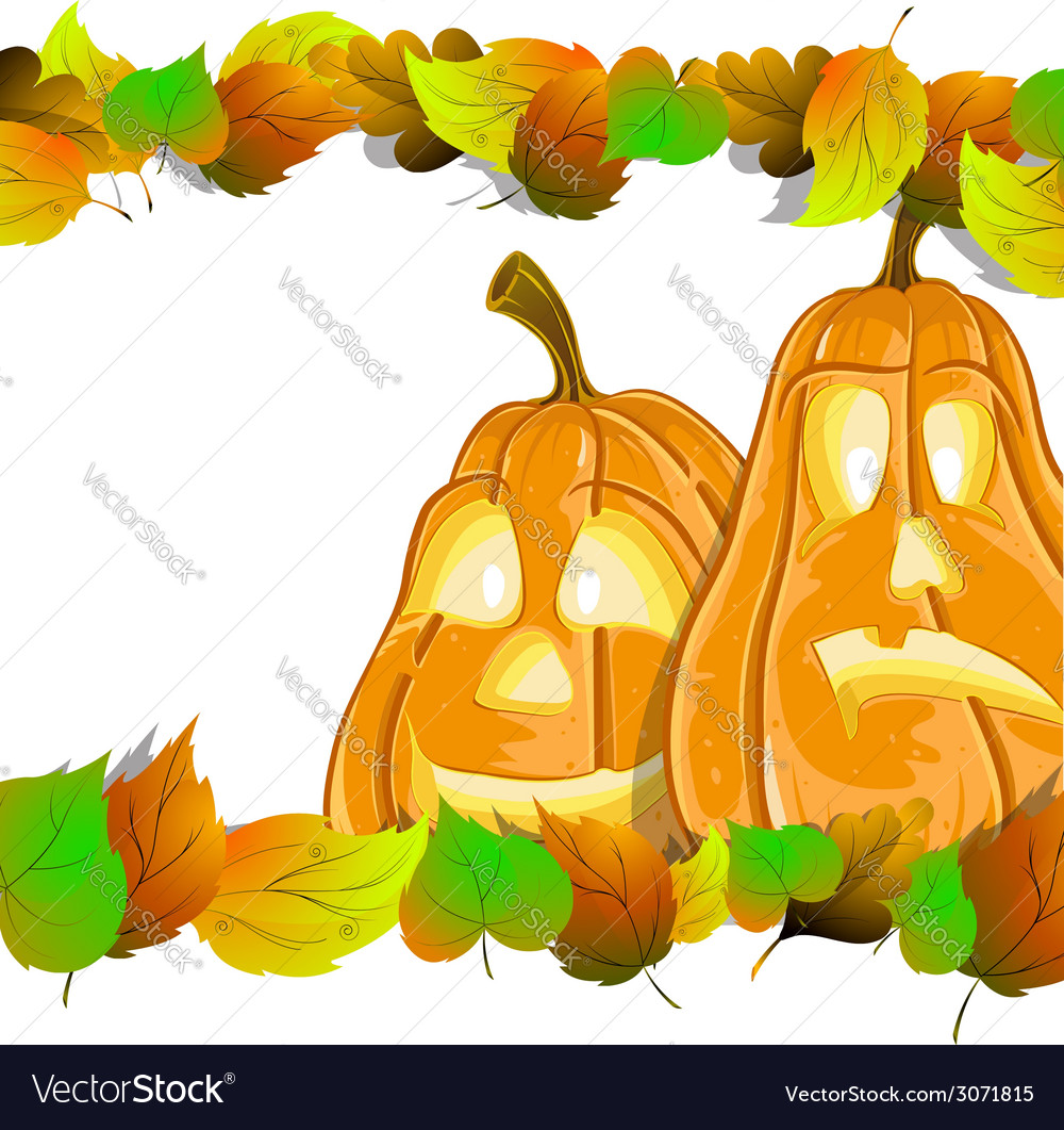 Pumpkin heads with leaves vector | Price: 1 Credit (USD $1)