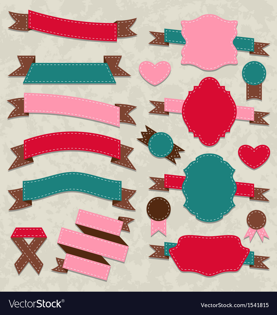 Set ribbons vintage labels geometric emblems vector | Price: 1 Credit (USD $1)