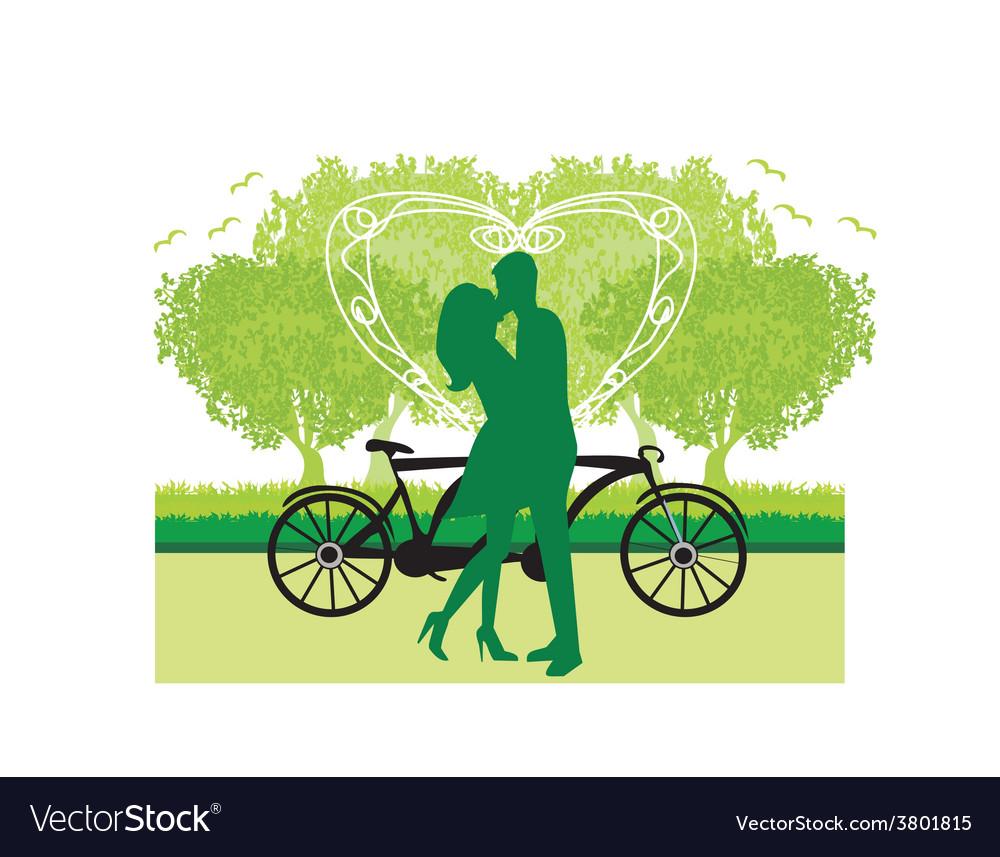 Sillhouette of sweet young couple in love standing vector | Price: 1 Credit (USD $1)