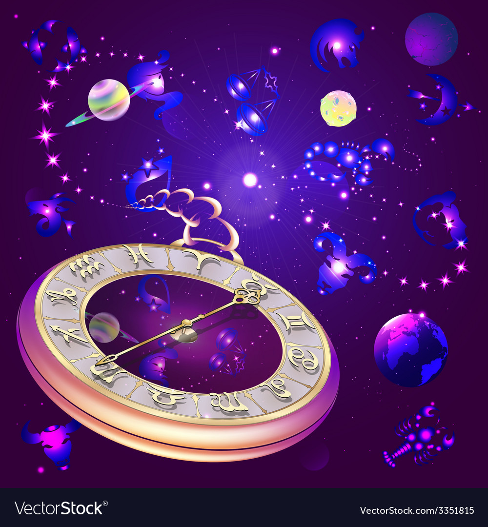 Star background with clock and zodiac signs vector | Price: 3 Credit (USD $3)