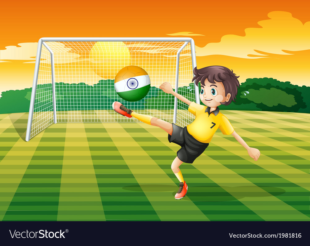 A girl kicking the ball with the indian flag vector | Price: 1 Credit (USD $1)