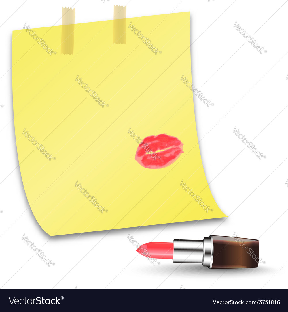 A piece of paper with the word love and lip prints vector | Price: 1 Credit (USD $1)