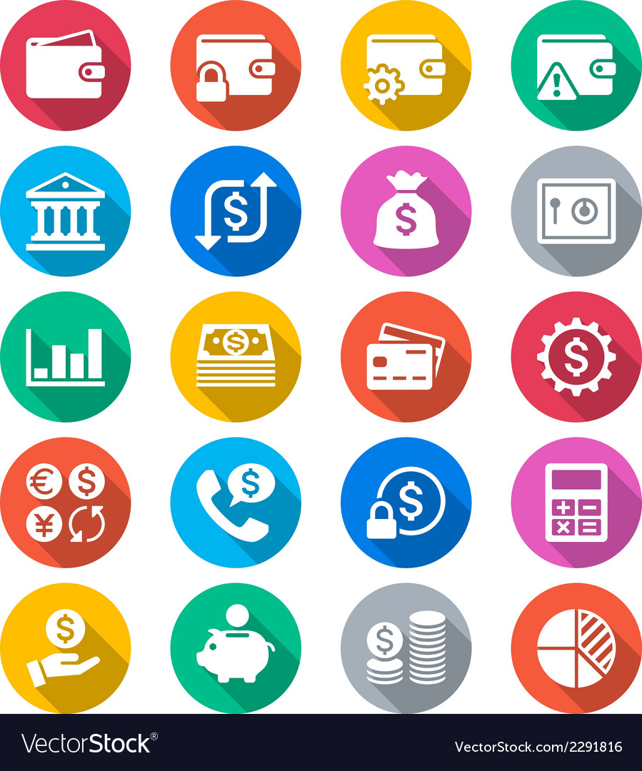 Financial management flat color icons vector | Price: 1 Credit (USD $1)