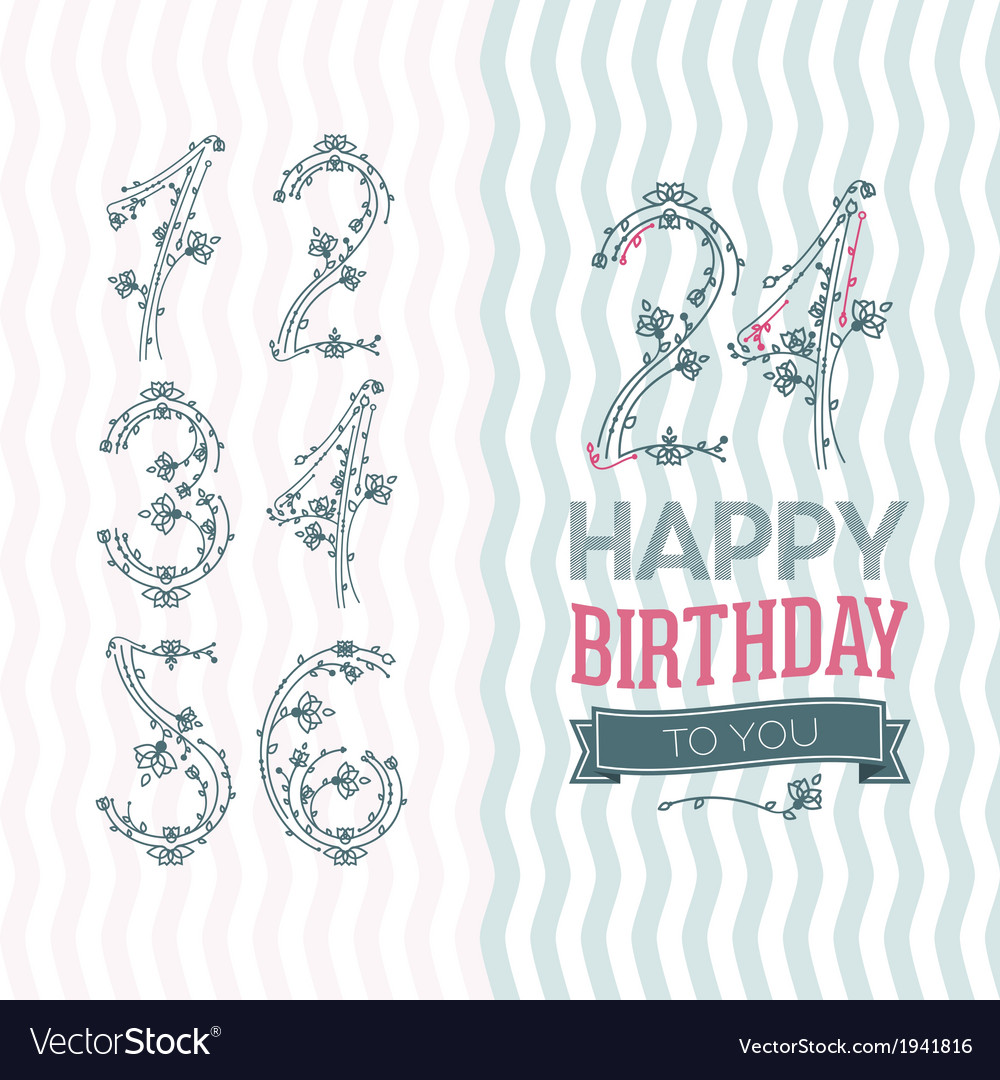 Flower numbers birthday set vector | Price: 1 Credit (USD $1)