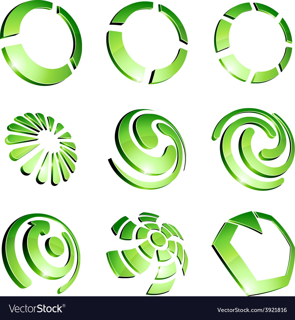 Green vibrant logo set vector | Price: 1 Credit (USD $1)