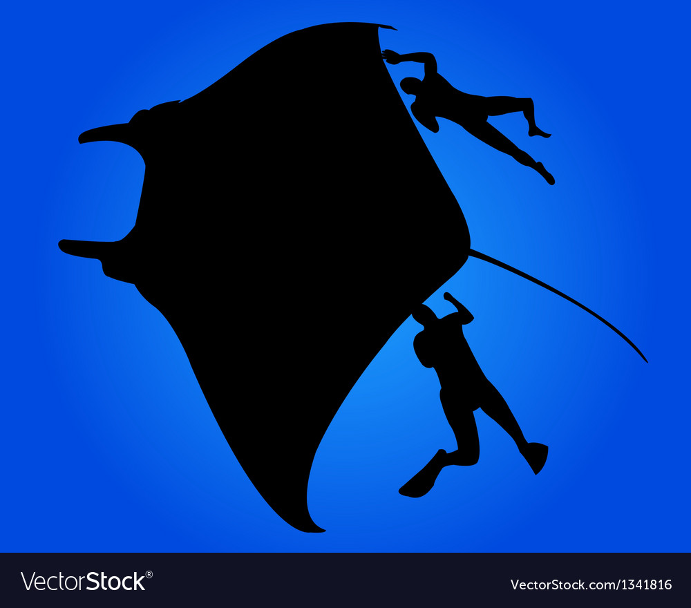 Marine fish ramp and two divers vector   Price: 1 Credit (USD $1)