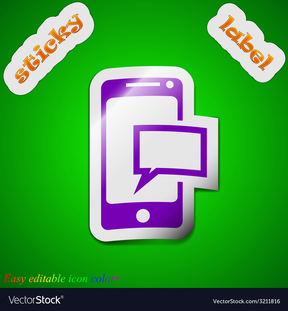 Message sms icon sign symbol chic colored sticky vector | Price: 1 Credit (USD $1)
