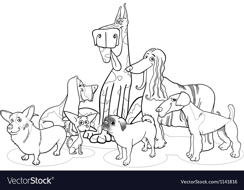 Purebred dogs group cartoon for coloring vector | Price: 1 Credit (USD $1)