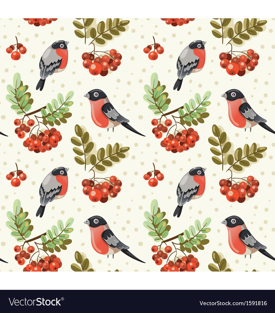 Seamless autumn pattern with bullfinch and rowan vector | Price: 1 Credit (USD $1)