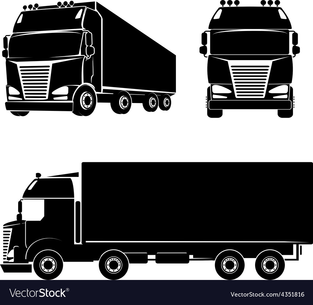 Silhouette truck icon vector | Price: 1 Credit (USD $1)