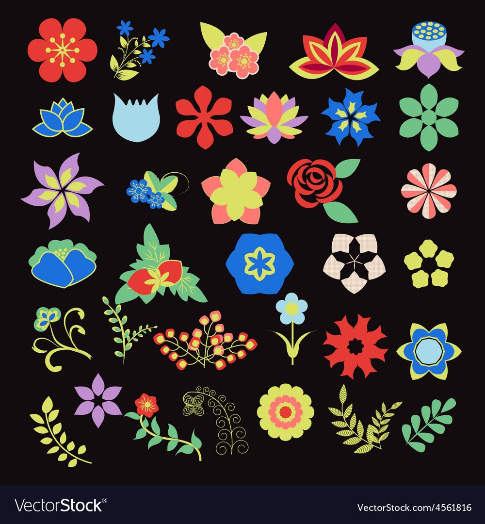 Symbols icon set flower set vector   Price: 1 Credit (USD $1)
