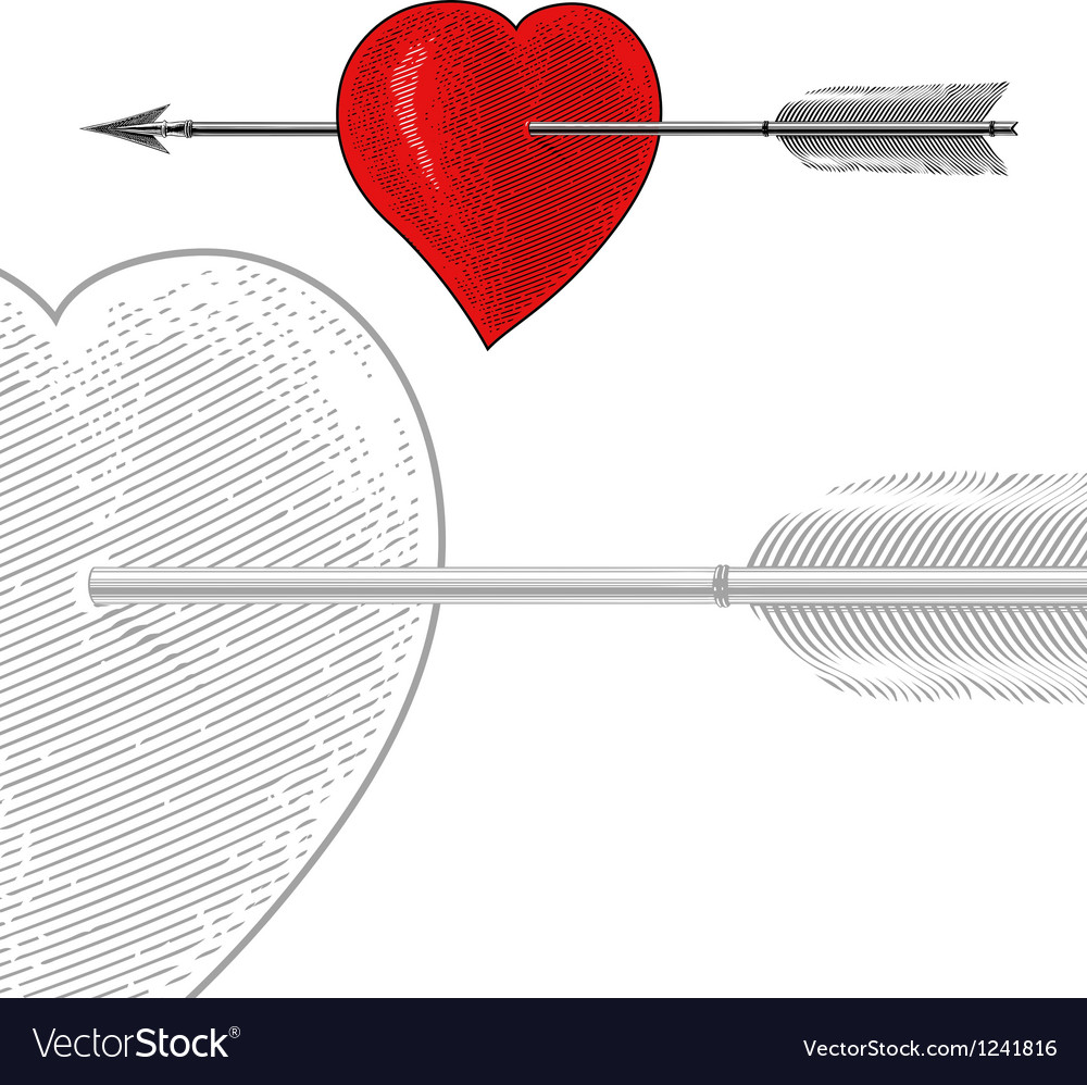 Vintage heart with arrow in engraving style vector | Price: 1 Credit (USD $1)