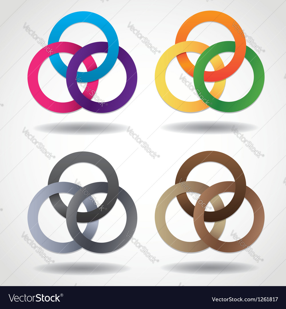 3d multicolored embracing metal ring shapes vector | Price: 1 Credit (USD $1)