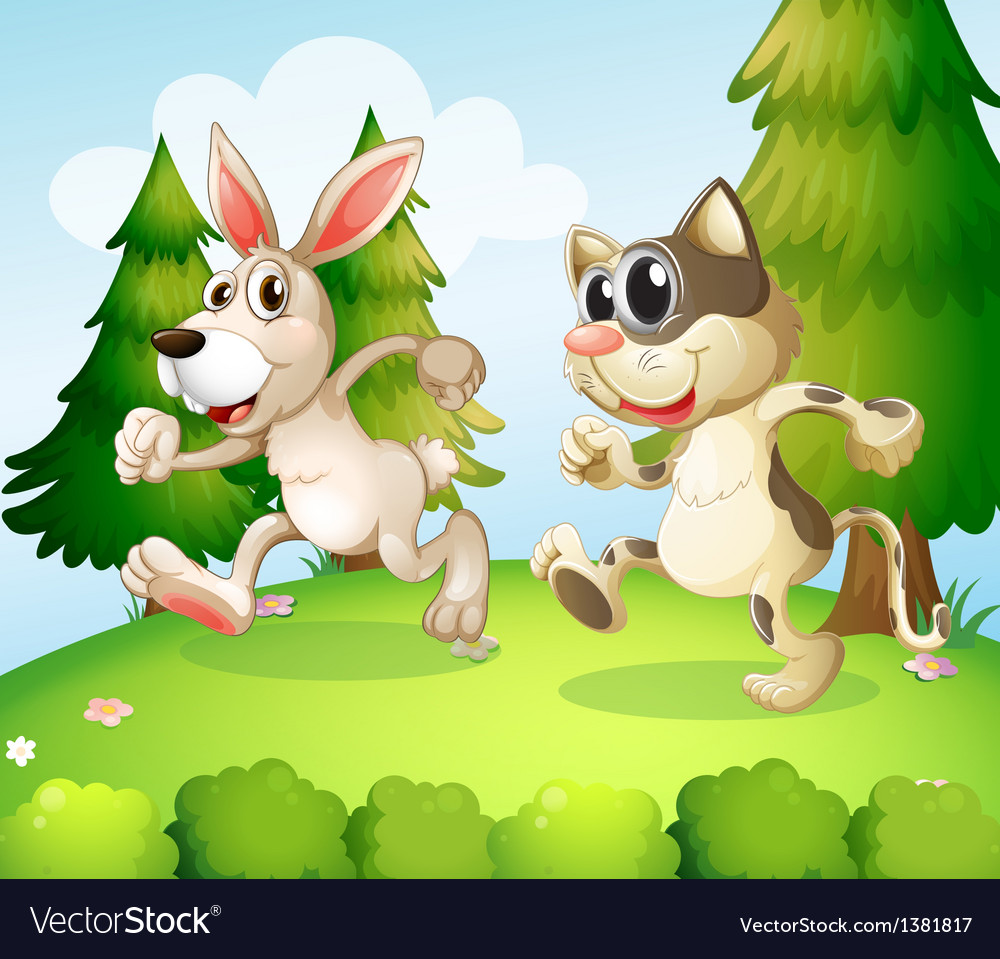 A bunny and a cat running above the hill vector | Price: 1 Credit (USD $1)