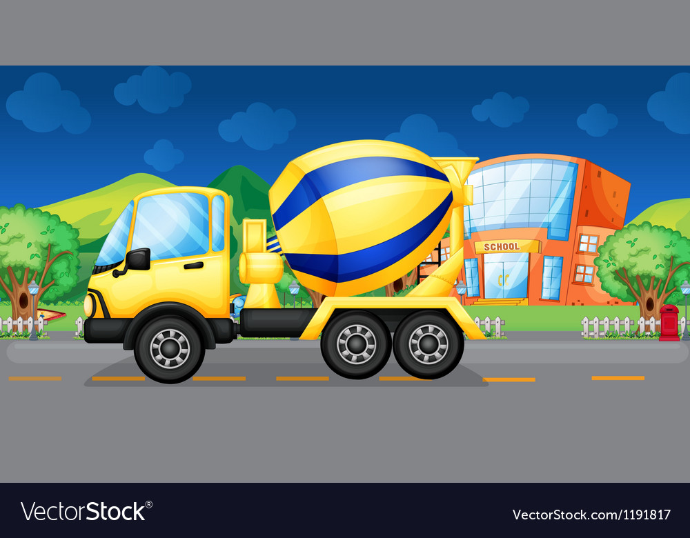 A cement truck running in the street vector | Price: 1 Credit (USD $1)