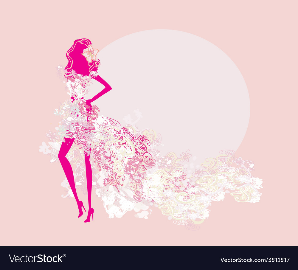 Abstract spring girl silhouette vector | Price: 1 Credit (USD $1)