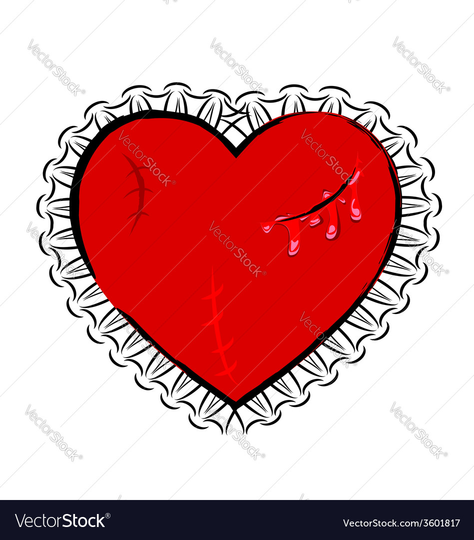 Abstract wounded heart vector | Price: 1 Credit (USD $1)