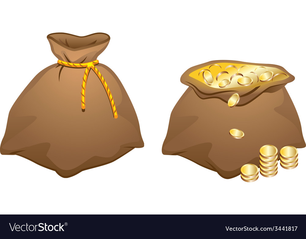 Brown bag full of gold coins vector | Price: 1 Credit (USD $1)
