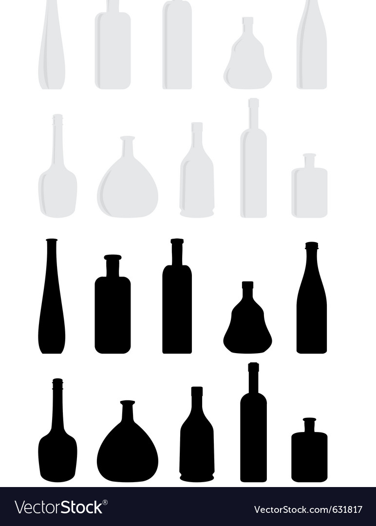 Cartoon set of wine bottles vector | Price: 1 Credit (USD $1)