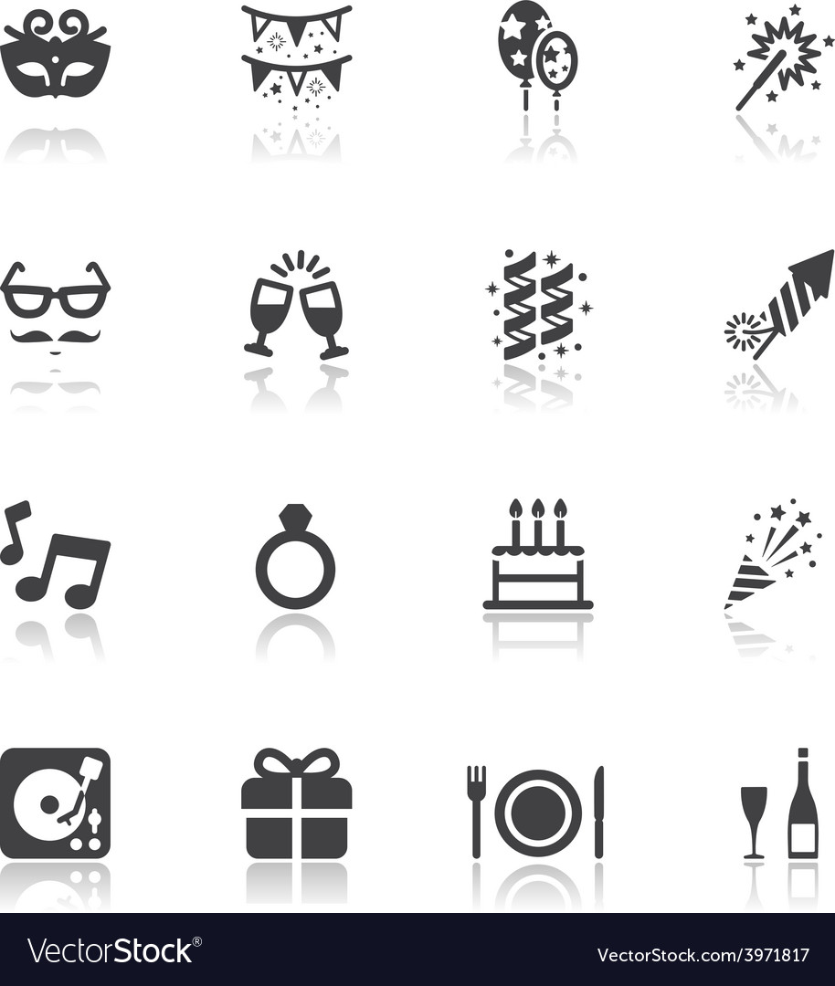 Celebration and party icons vector | Price: 1 Credit (USD $1)