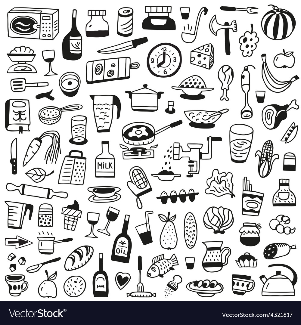 Cookery food - doodles collection vector | Price: 1 Credit (USD $1)