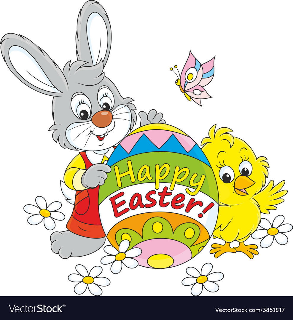 Easter bunny and chick vector | Price: 1 Credit (USD $1)