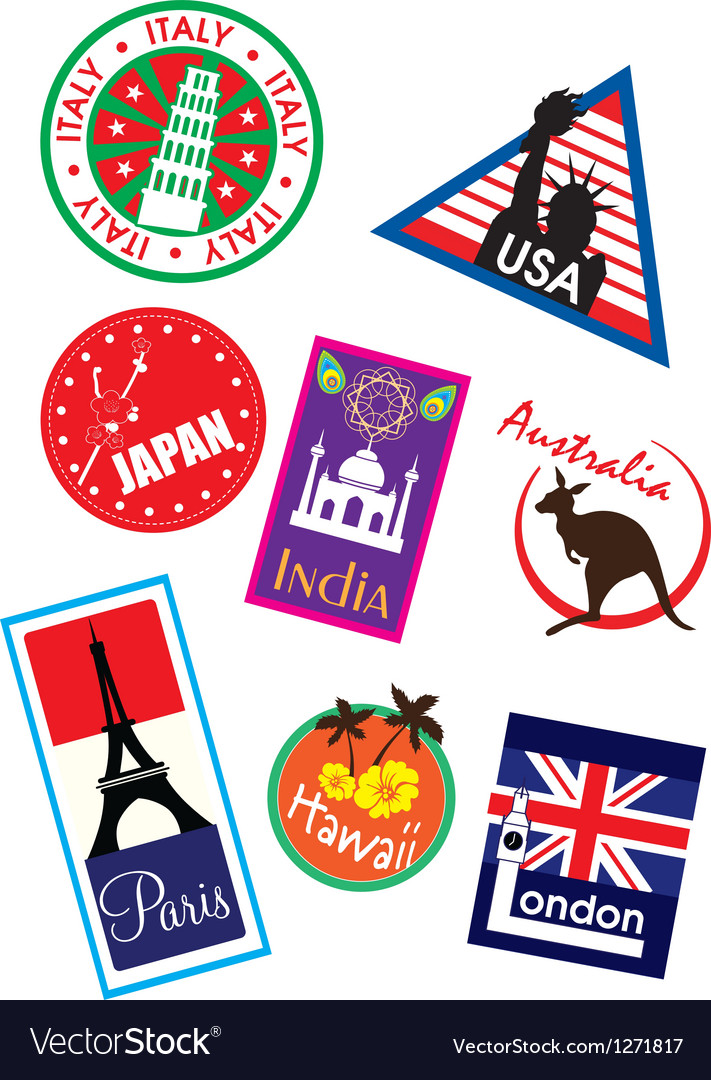 Europe sticker and stamp collection vector | Price: 1 Credit (USD $1)