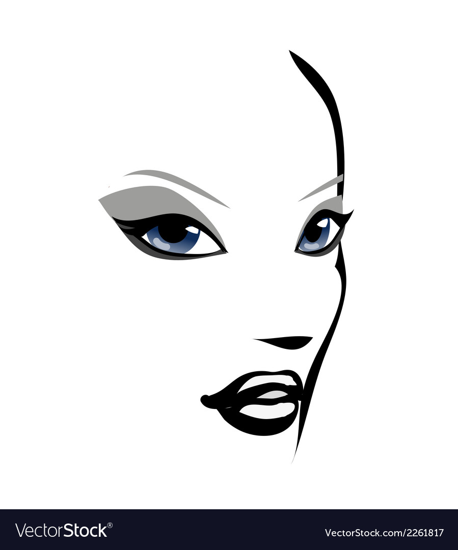 Face girl vector | Price: 1 Credit (USD $1)