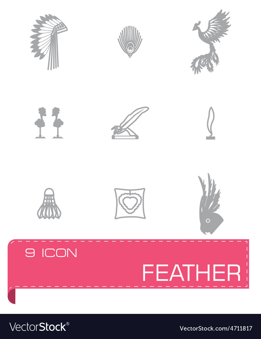 Feather icon set vector | Price: 1 Credit (USD $1)