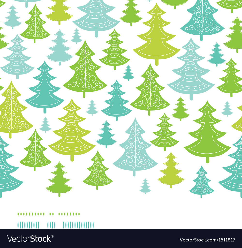 Holiday christmas trees horizontal seamless vector | Price: 1 Credit (USD $1)