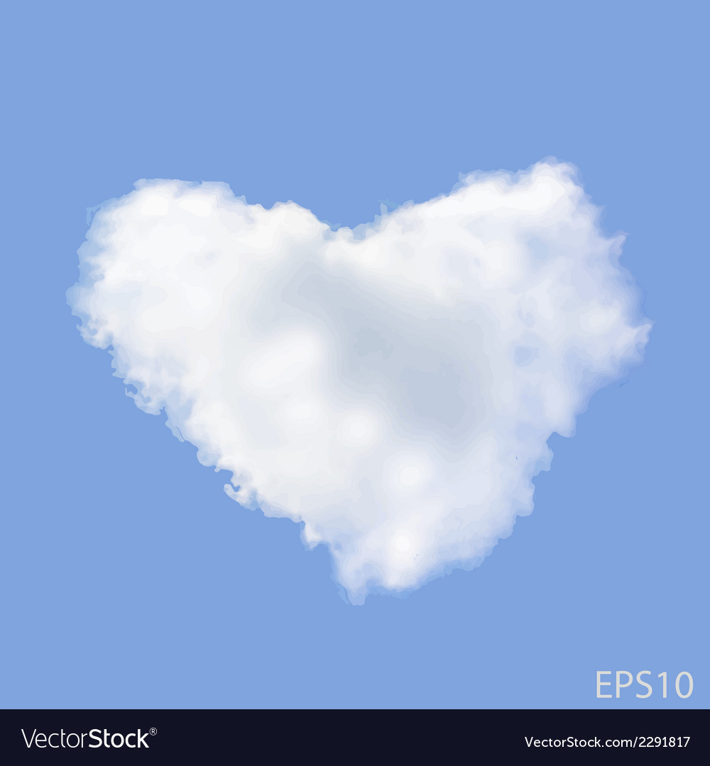 Realistic heart shaped cloud in the blue sky vector | Price: 1 Credit (USD $1)