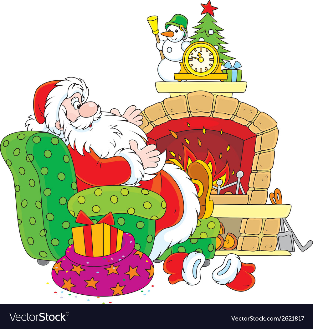 Santa claus by a fireplace vector | Price: 1 Credit (USD $1)