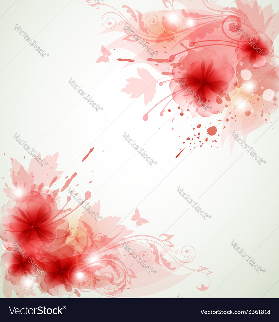 Abstract floral background with red flowers vector | Price: 1 Credit (USD $1)