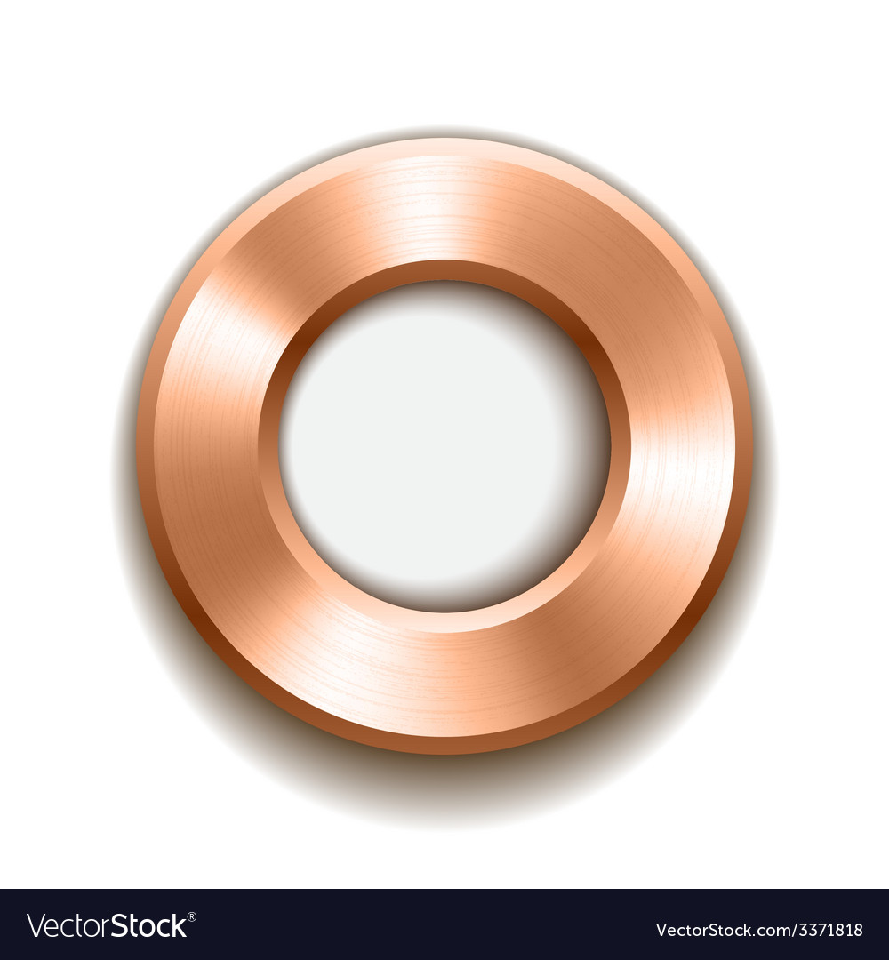 Bronze donut button template with metal texture vector | Price: 1 Credit (USD $1)