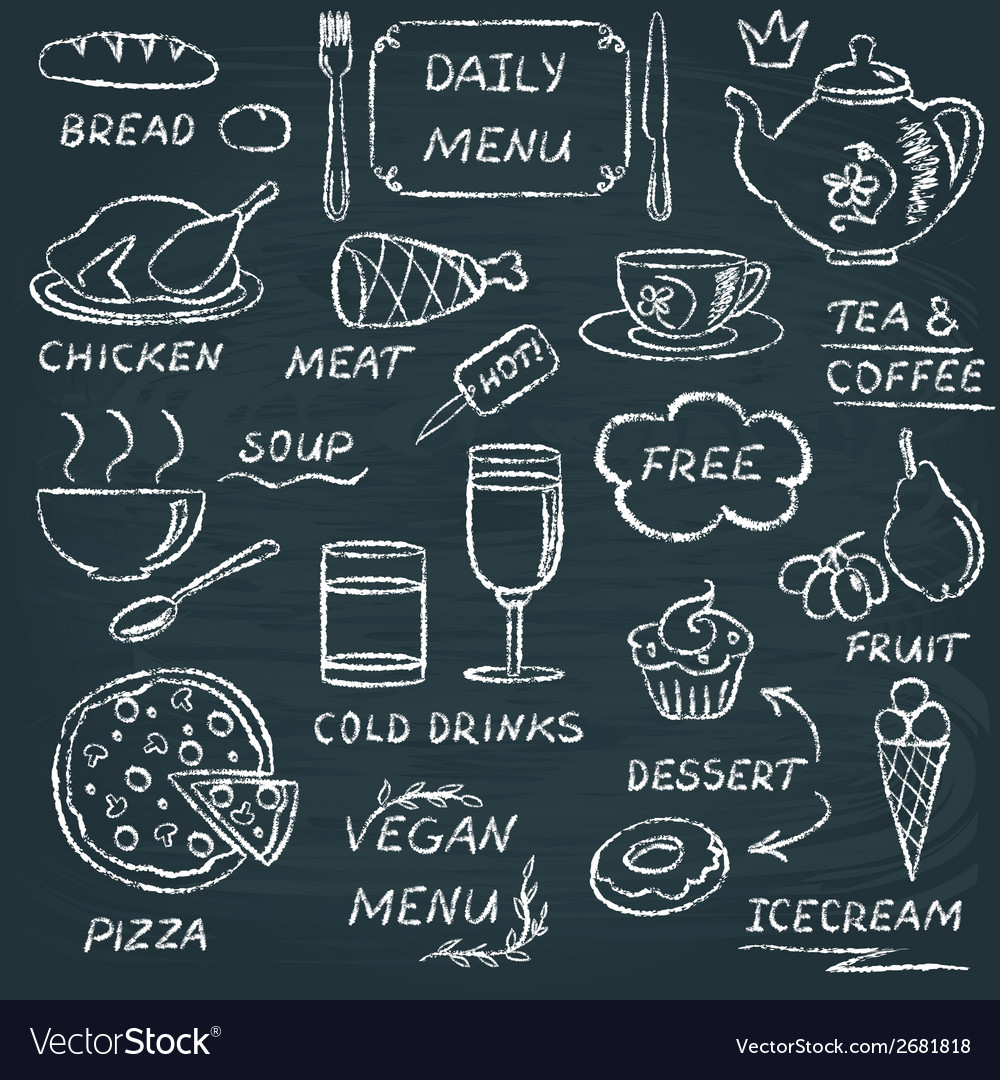 Chalkboard menu elements set 3 vector | Price: 1 Credit (USD $1)