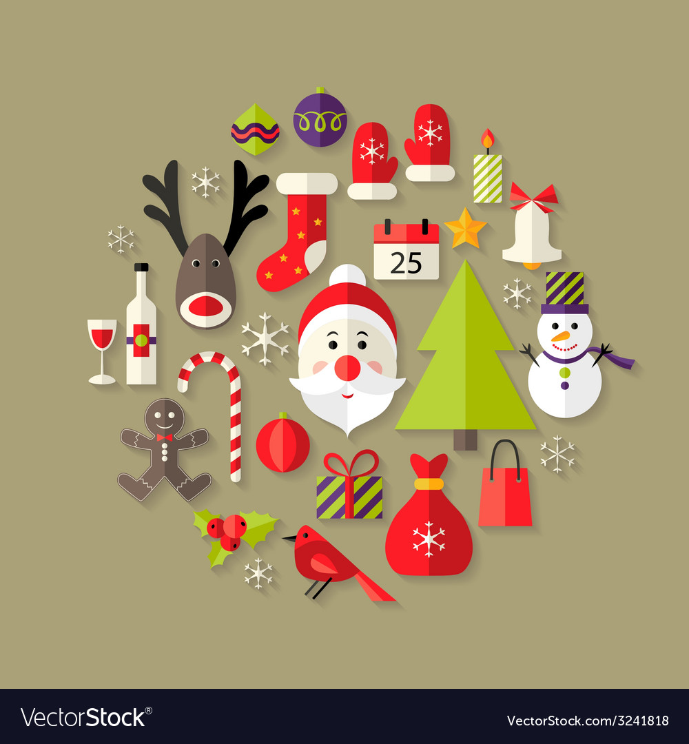 Christmas flat icons set with santa claus vector | Price: 1 Credit (USD $1)