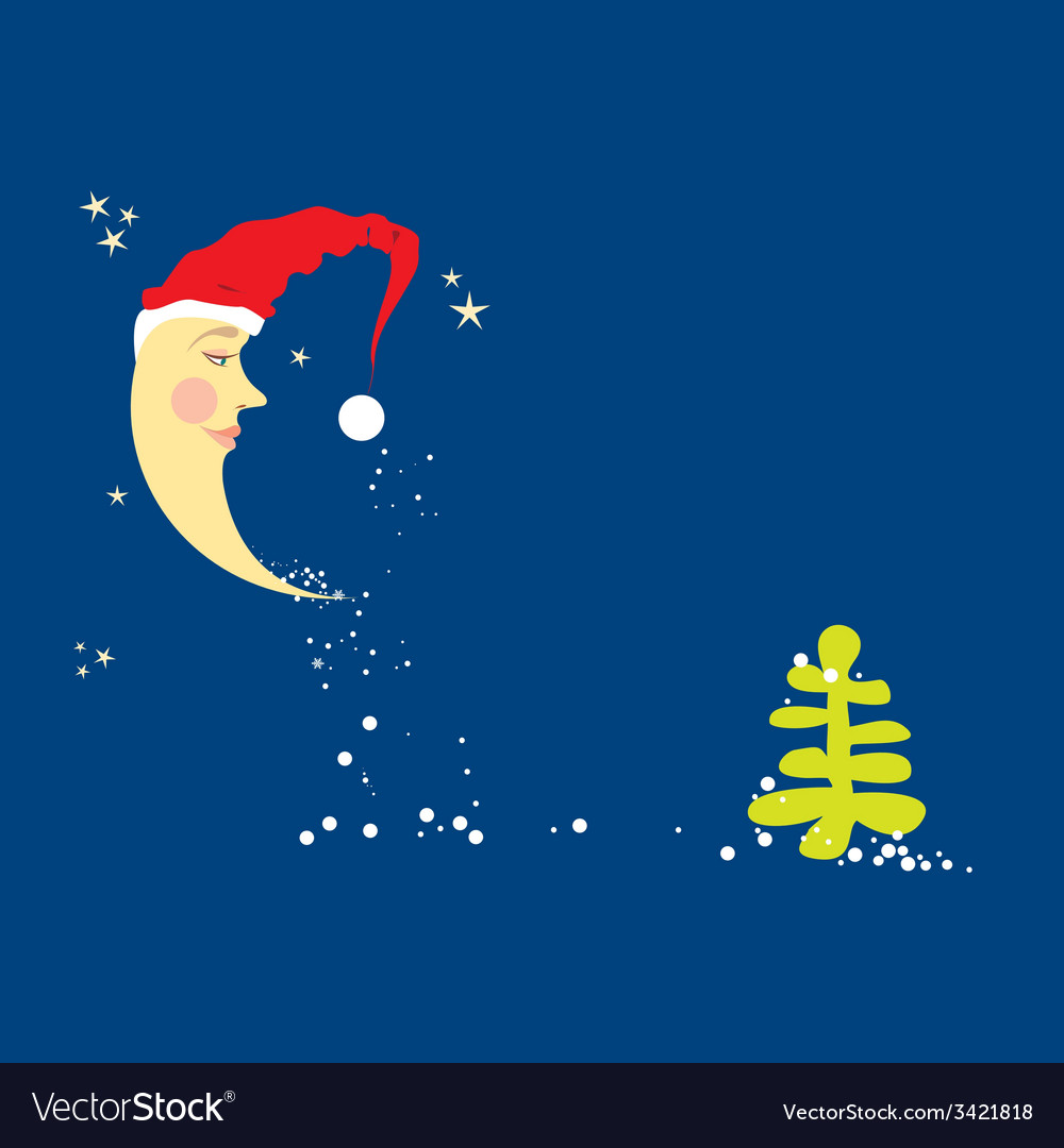 Crescent moon in a christmas hat vector | Price: 1 Credit (USD $1)