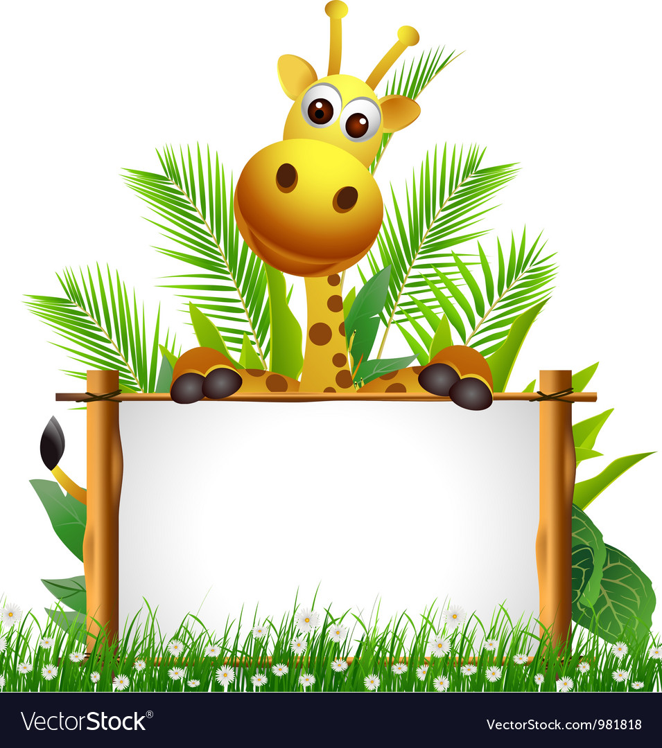 Cute giraffe with blank sign vector | Price: 3 Credit (USD $3)