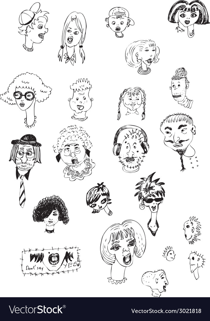 Heads collection vector | Price: 1 Credit (USD $1)