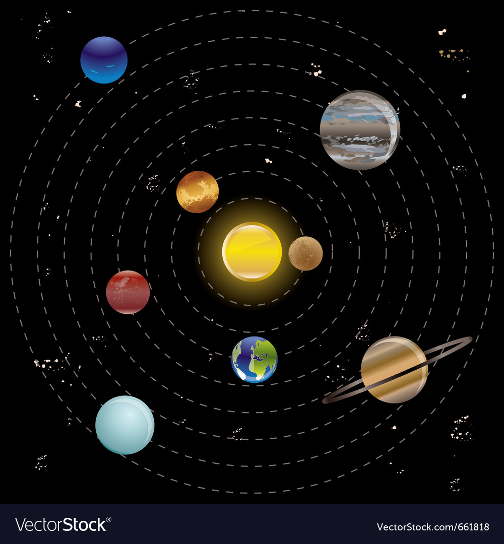 Planets and sun from our solar system vector