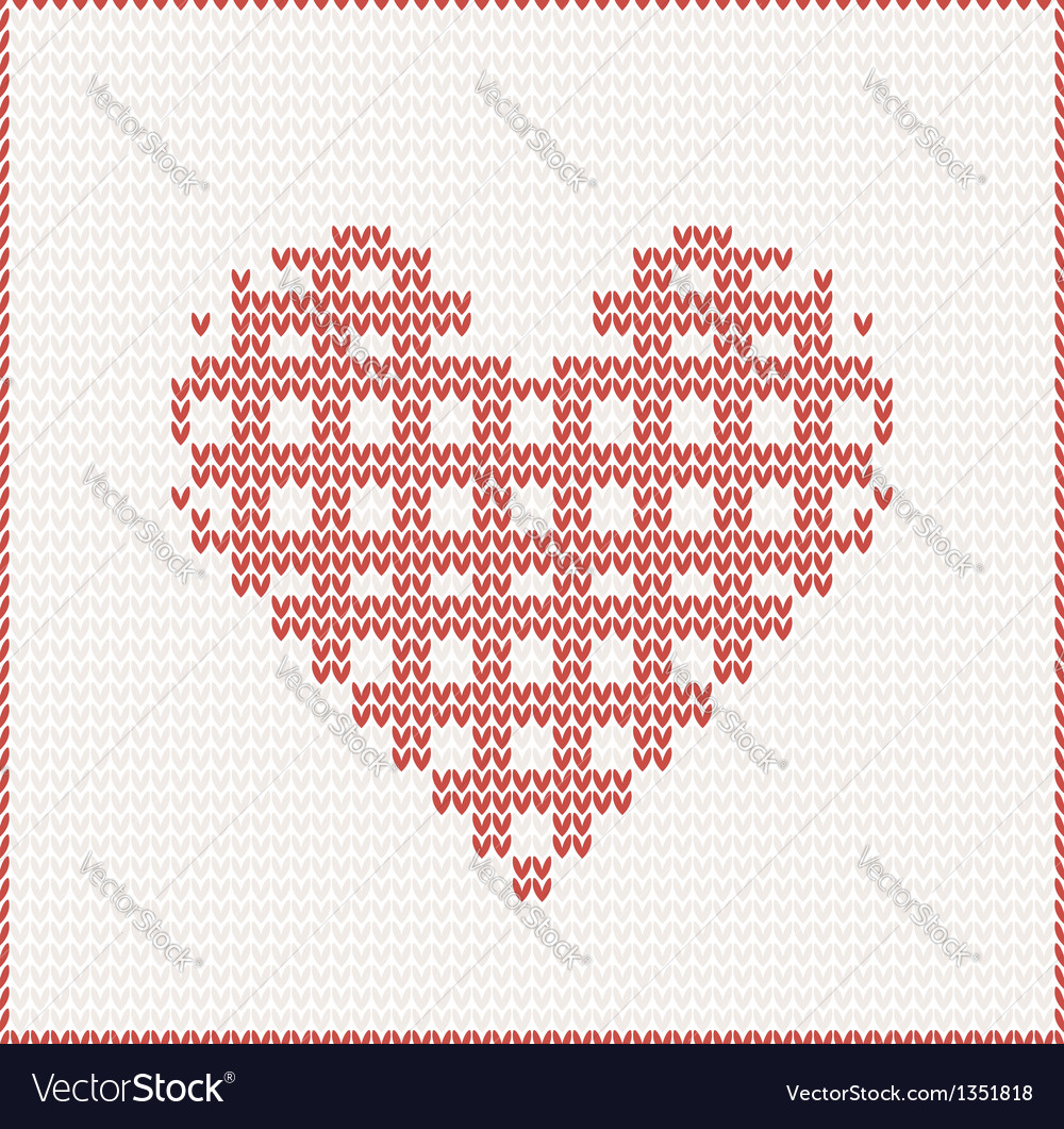 Seamless knitted pattern with red heart vector | Price: 1 Credit (USD $1)