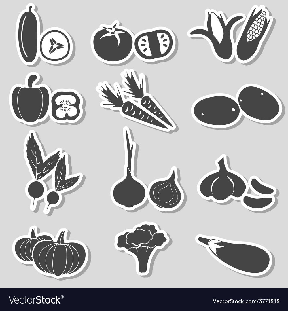 Set of black various vegetables stickers eps10 vector | Price: 1 Credit (USD $1)