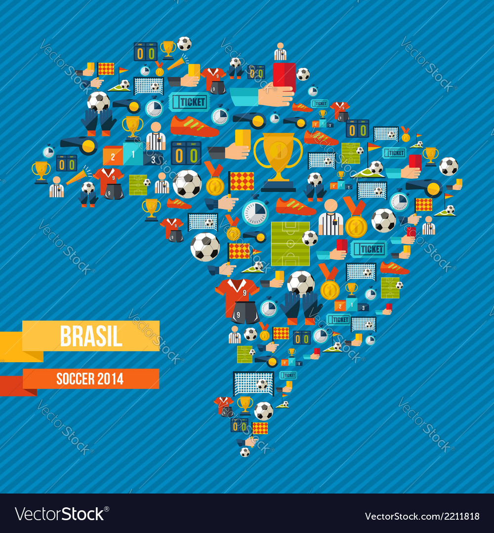 Soccer icons brazil map vector   Price: 1 Credit (USD $1)