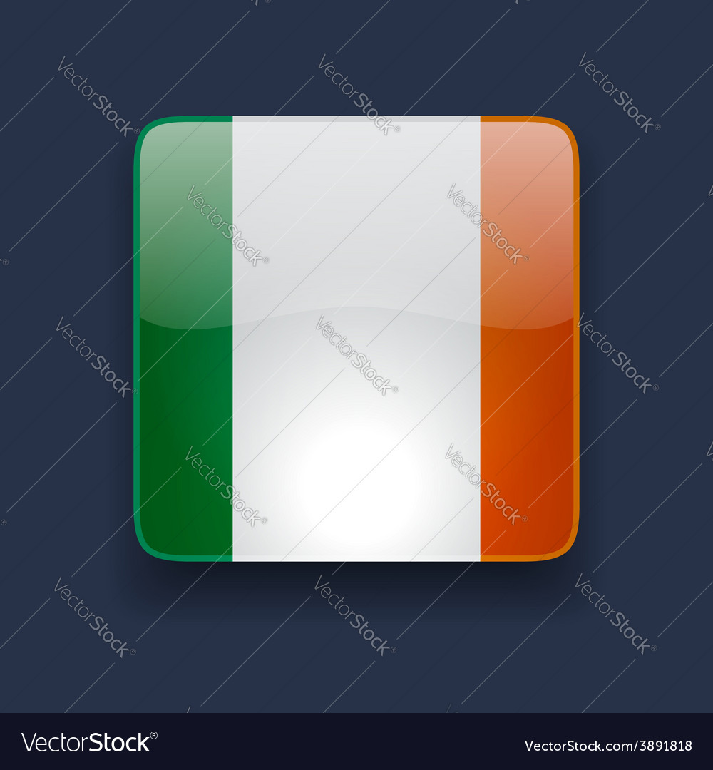 Square icon with flag of ireland vector | Price: 1 Credit (USD $1)