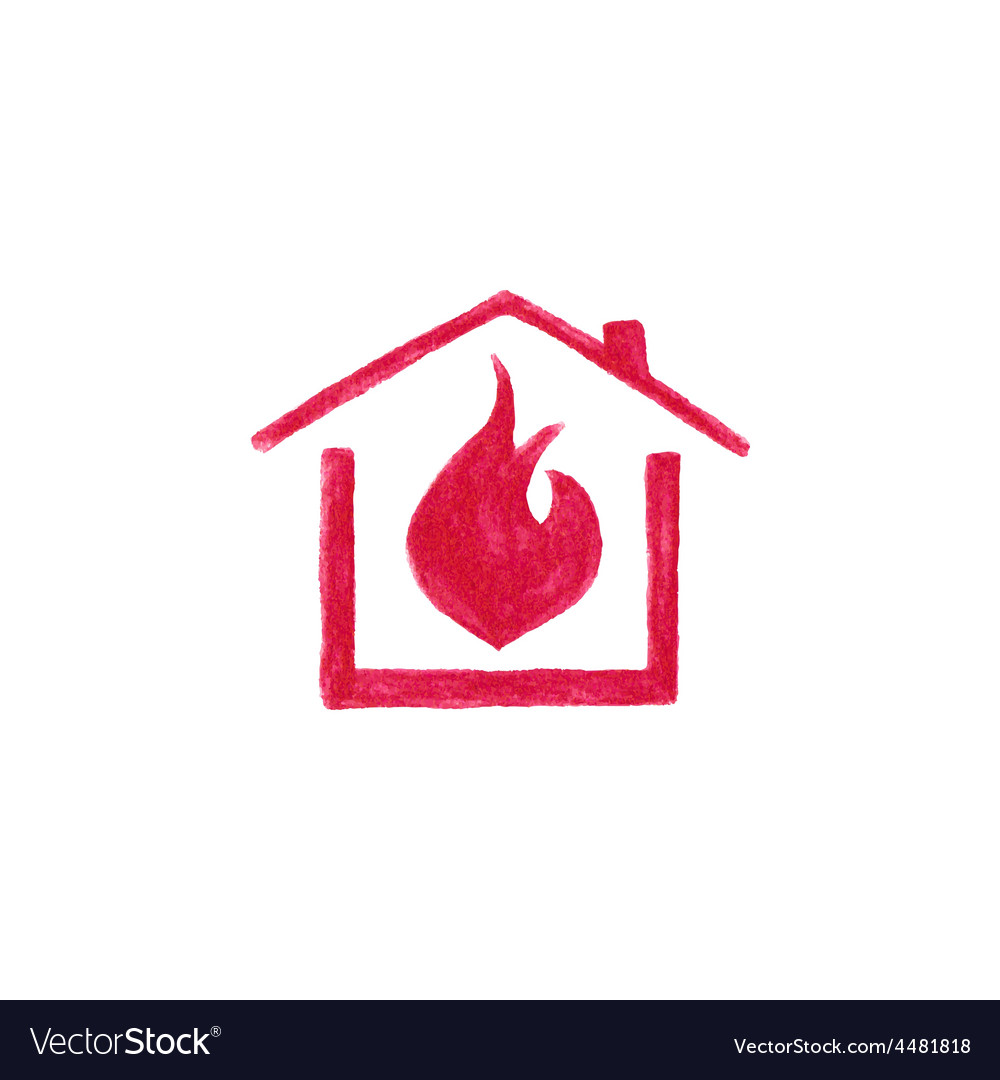 Watercolor house in flame on the white background vector | Price: 1 Credit (USD $1)