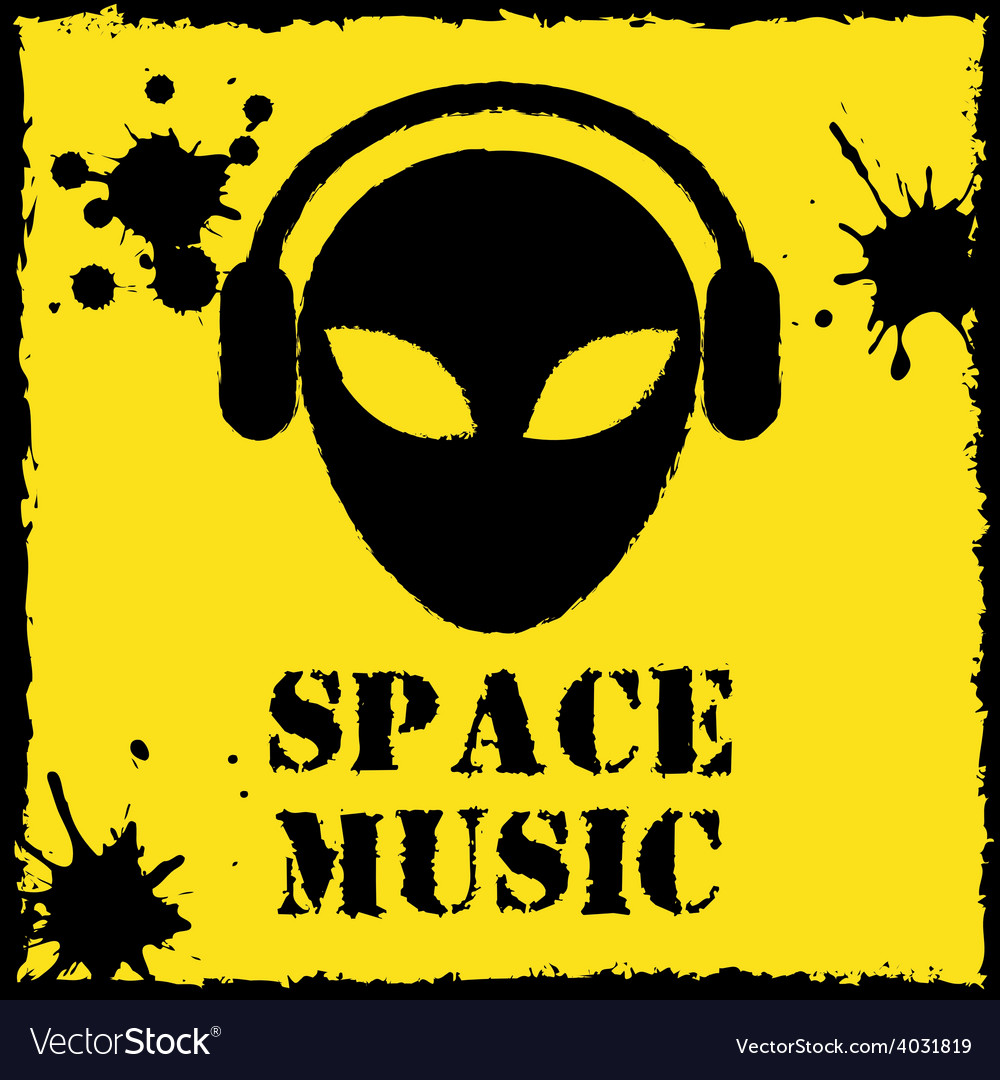 Alien space music logo on yellow background vector | Price: 1 Credit (USD $1)