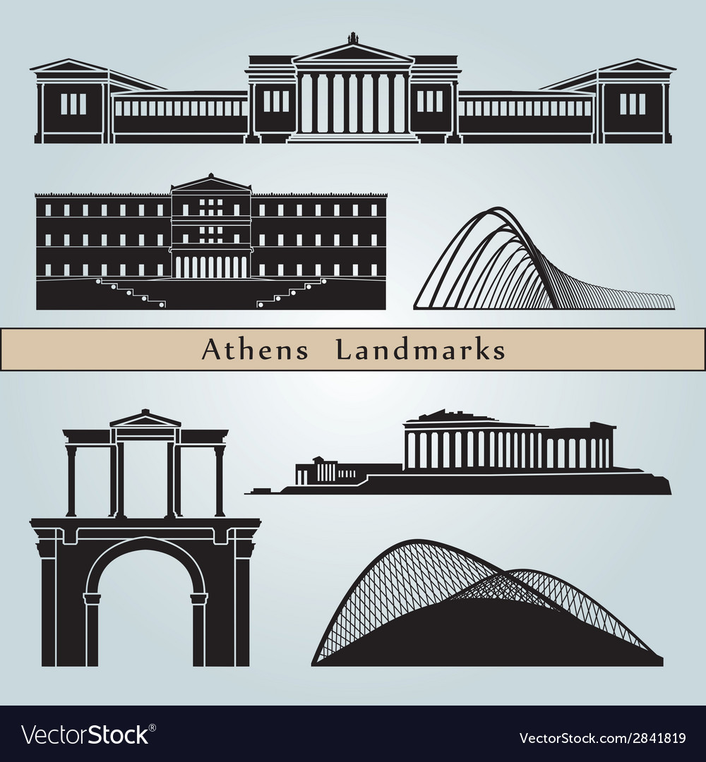 Athens landmarks and monuments vector | Price: 1 Credit (USD $1)